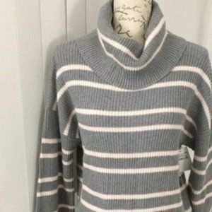 NWT Abound Gray Pink Stripe Cowl Neck Sweater